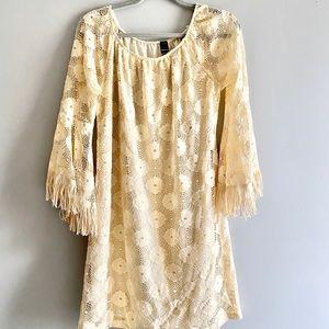 Honeyme Lace & Fringe Off the Shoulder Ivory Dress
